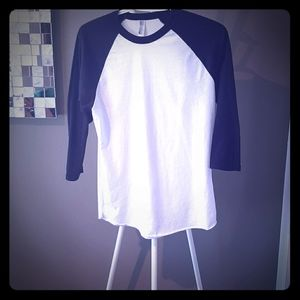 American Apparel black and white baseball top